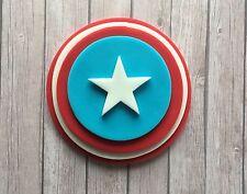 Handmade Edible Sugarpaste Captain America Cake Topper Plaque - Superhero Marvel