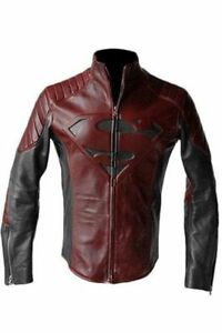 Superman Man Of Steel Jacket SMALLVILLE Black and Red Real Leather Shield Jacket
