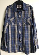 RealTree Snap Front Western Shirt Mens sz XXL Blue Plaid Cotton/Poly