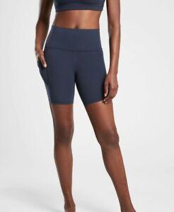 "ATHLETA Salutation Stash Pocket II 7"" Short S SMALL NAVY  | Yoga Workout Shorts"