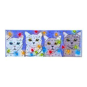 Cat Christmas Lights Magnet Funny Pet Portrait Stocking Stuffer Gift Handmade