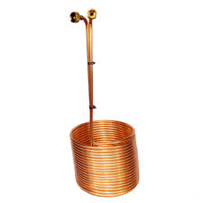 "Immersion Wort Chiller 50' x 3/8"" Copper EX TALL w Garden Fittings Homebrew Beer"