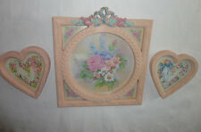 Home Interiors Pink Resin Frame w/Pink Roses & Blue Bow & 2- Heart Pictures 3pc
