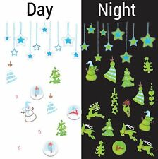 Nail Art Water Decals Glow in the Dark Christmas Tree Stars Snowman GID044