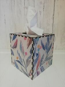 Tissue Box Cover Made W/ Voyage Torquay Loganberry Fabric Cube Square