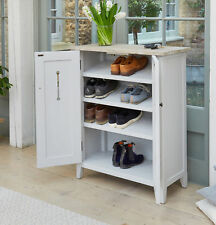 Signature Painted Grey Limed Oak Top Shoe Storage Cupboard