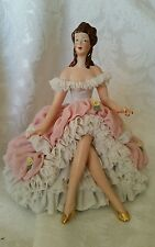 Rare Vintage Dresden Lace Seated Lady OUTSTANDING CONDITION