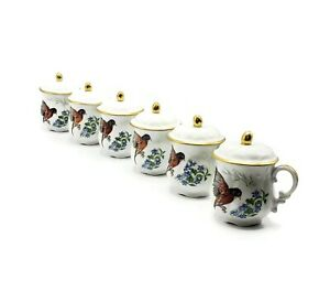 Vintage Limoges Porcelain Robins and Violets Decorated Pots de Crème, Set of 6
