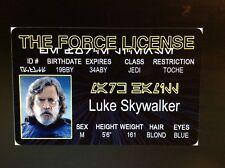 Star Wars Luke Skywalker Mark Hamill Jedi fake Id i.d card Drivers License