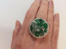 Beautiful Frosted Glass & Crystal Large Statement Brass Ring Size 7