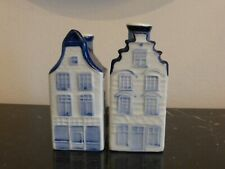 Delf Pottery Holland Town Homes Building Salt and Pepper Shakers