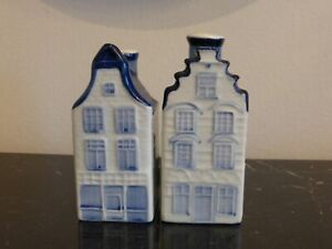 Delft Pottery Holland Town Homes Building Salt and Pepper Shakers