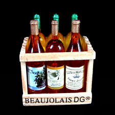 Dollhouse Miniature Red Wine Beer Bottles Wood Rack Kitchen Drink Fridge Magnet
