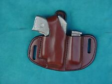 Ruger LCP Crimson Trace & extra magazine leather holster brown