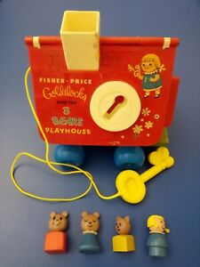 Vintage Fisher Price Goldilocks and the 3 Bears Playhouse Pull-toy WITH KEY