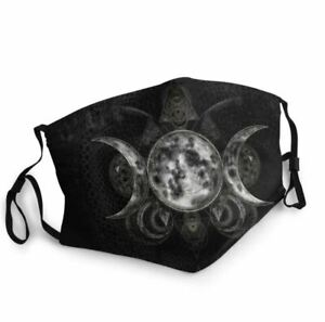 Washable Reusable Face Mask Pagan Wicca Triple Moon Grey - UK Seller