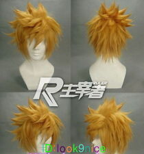 Kingdom Hearts Roxas Short Flip Out Golden Blonde Cosplay Wigs + free wig cap
