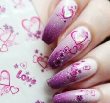 Nail Art Water Decals Stickers Transfers Valentines Love Pink Hearts Lace (1323)