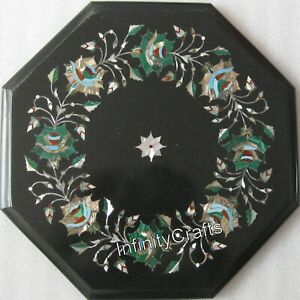 13 Inch Marble Coffee Table Top Inlay Semi Precious Gemstones End Table for Home