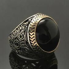 925 Sterling Silver Mens Ring Black Onyx Unique Elegant artisan jewelry