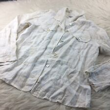 Chicos Size 1 Button Down Blouse 100% Linen Off White Shirt Top