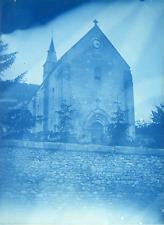 Cyanotype, France, Eglise à identifier  Vintage print.  cyanotype  12,5x17