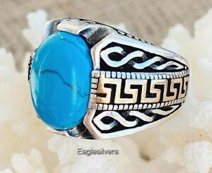 Handmade 925 Sterling Silver Turquoise Stone Medusa Men's Woman's Signet Ring