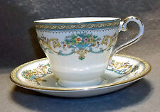 Aynsley Henley Bone China Teacup & Saucer - Gold Trim, Green Backstamp