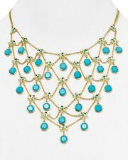 NEW Carolee Turquoise Beads & Gold Tone Chain Drama Bib Necklace, 16""