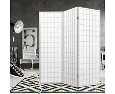 Room Divider Privacy Screen Folding Living Bed Solid Wooden Wall 3 Panel White