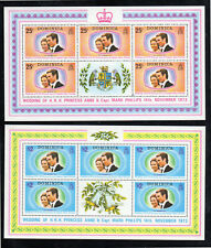 DOMINICA #372-373  1973 WEDDING OF PRINCESS ANNE  MINT  VF LH  O.G SHEET 5+