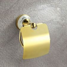 GOLD VICTORIAN STYLE SOLID BRASS BATHROOM TOILET ROLL PAPER HOLDER WITH FLAP