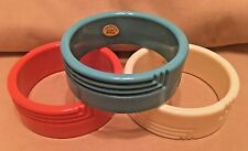 Vintage NOS Orange Turquoise Ivory Genuine Lucite Bangle Bracelet Deco Set (3)