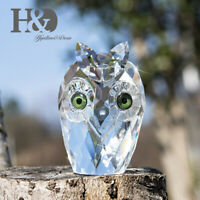 Crystal Small Owl Figurines Glass Animal Statue Collectibles Table Centerpiece