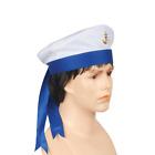 Sailor Hat With Ribbon Yacht Captain Hat Costume White Cap Adult