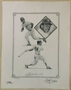Rickey Henderson Signed Christopher Paulso Print /750 - PSA COA HOF Yankees Auto