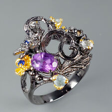 Fine Art Natural Amethyst 925 Sterling Silver Ring Size 8.25/R110358