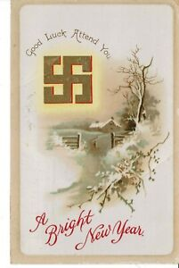 SWASTIKA 1912  GOOD LUCK ATTEND YOU / A BRIGHT NEW YEAR - ANTIQUE  POSTCARD