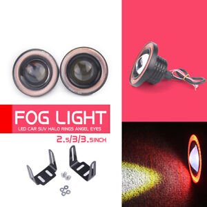 "2x 2.5"" inch LED Fog Light Round Red COB Angel Eyes Halo DRL Driving Car Truck"