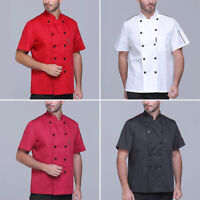 Unisex Short Sleeve Chef Coat Jacket Restaurant Uniform Men Women Cook