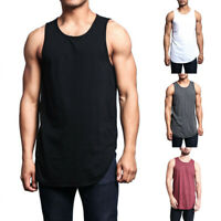 Men Casual Basic Solid Long Length Curved Hem Tank Top Sleeveless Shirts DZ