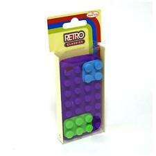 Retro Classics Silicone Building Block Case For iPhone 4/4S - Purple/Blue/Green