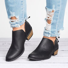 Women PU Leather Ankle Boot Short Booties Cut-out Low Chunky Heels Sandals Shoes