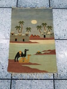Vintage Hand Made Traditional Egyptian Pictorial Kilim 112x73cms