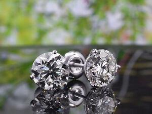 1.50 Ct. Round Cut Diamond Martini Earrings E VS1 14kGold Push back / Screw Back