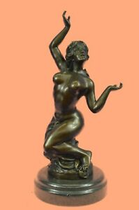 100% Solid Bronze Sculpture Nude Girl Lady Nymph  Museum Quality Artwork Decor