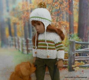 For Sasha doll hand knitted *Fall* set by Alicewhitewings (DOLL NOT INCLUDED)