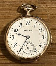 ANTIQUE 1920 HAMILTON 956 17 JEWELS SIZE 16 G.F. POCKET WATCH - NOT RUN * AS IS