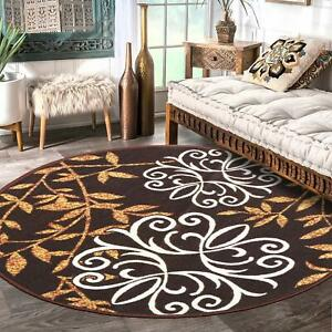 Round Shape Nylon Floor Carpet Mats with Anti Skid Backing(Brown,30 x 30 inches)