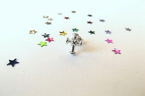 ATTRACTIVE Mens Sterling Silver Cross Earring